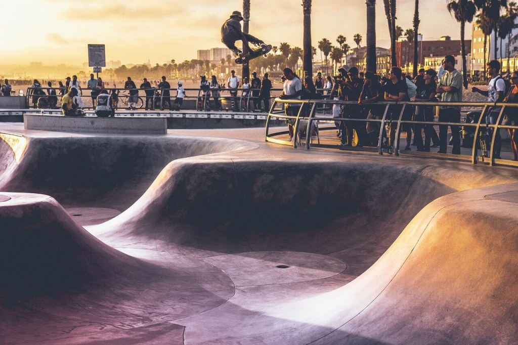 Skateboarding in Park